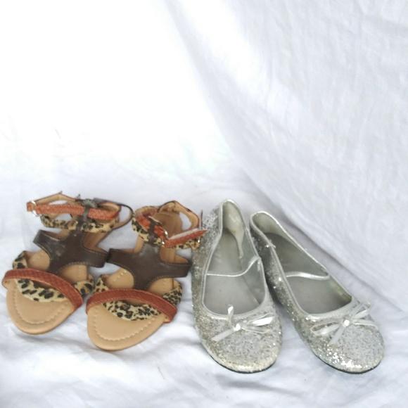 fe86f830aa 2 Pair Lot Girls Sandals Gladiator Bling 13-1